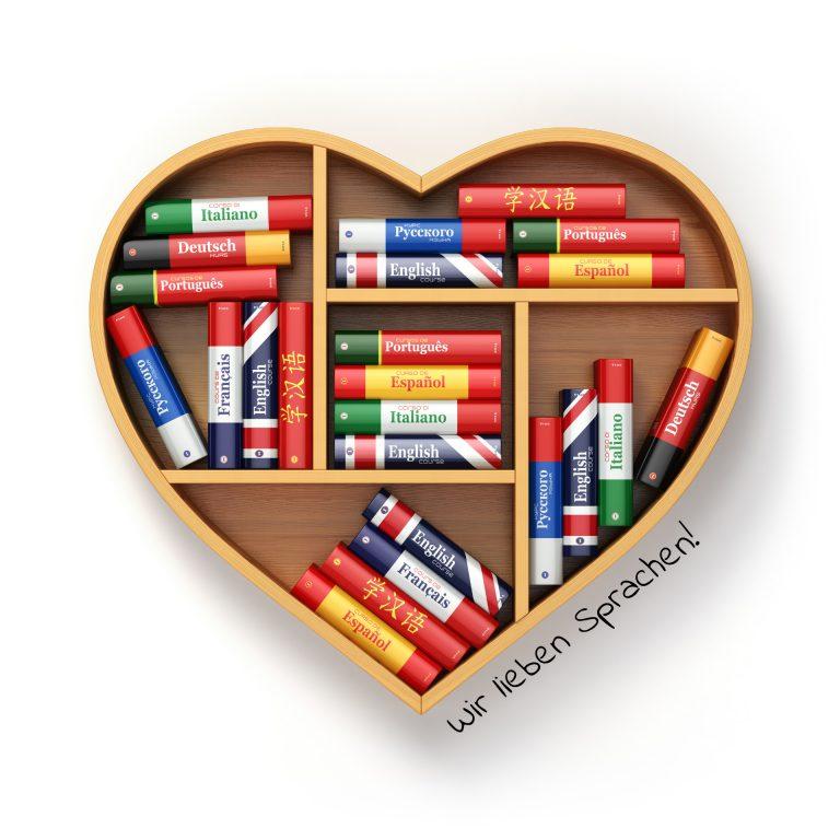 Regal in Herzform mit Büchern für Sprachkurse